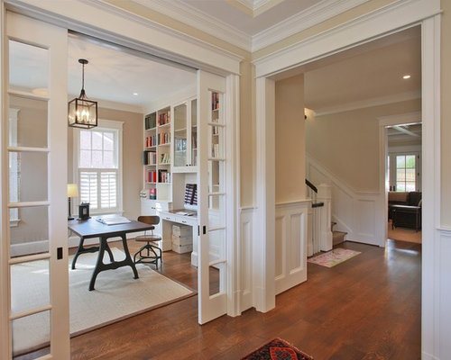 Charming Home Office   Traditional Freestanding Desk Medium Tone Wood Floor Home  Office Idea In DC Metro Design Ideas