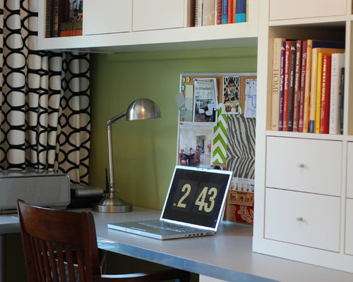 home office modern home office idea in toronto with green walls