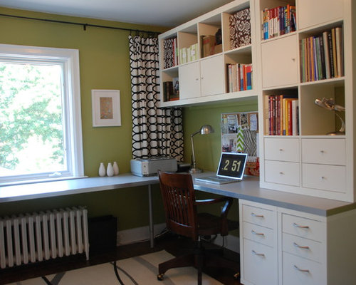 Transitional Home Office Photo In Toronto With Green Walls