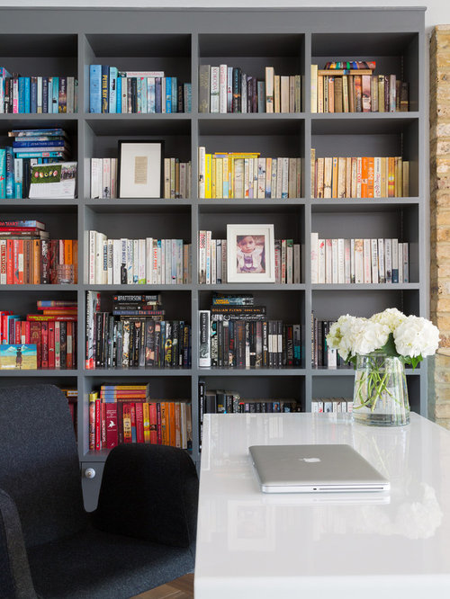 Modern Study In London With Grey Walls, Medium Hardwood Flooring, No  Fireplace And A