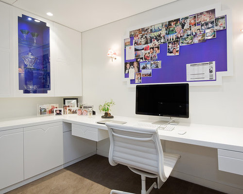 Great Example Of A Mid Sized Trendy Freestanding Desk Carpeted And Beige Floor  Study Room Design
