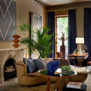 Merveilleux Large Elegant Freestanding Desk Medium Tone Wood Floor And Brown Floor Home  Office Photo In New