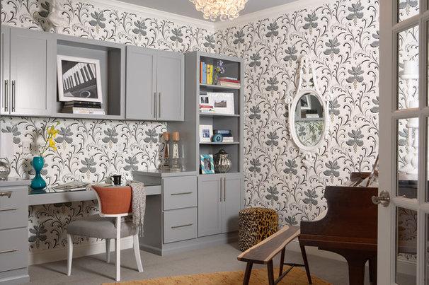 Transitional Home Office by Martha O'Hara Interiors