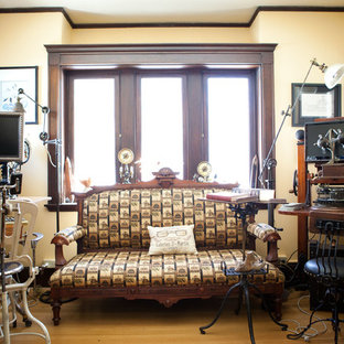 Example of an eclectic home office design in Boston