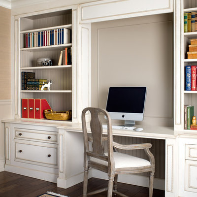 Home office - traditional built-in desk home office idea in Toronto