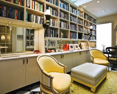 Elegant freestanding desk home office photo in San Francisco. Home Office Library   Houzz