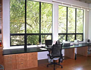 built in desk with a view of oak grove