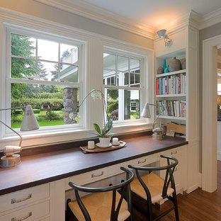 Inspiration for a timeless built-in desk home office remodel in Portland