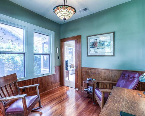 Houzz Turquoise Home Office With Green Walls Design
