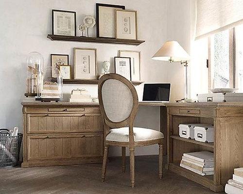 bureau romantique avec un mur gris photos et id es d co de bureaux. Black Bedroom Furniture Sets. Home Design Ideas