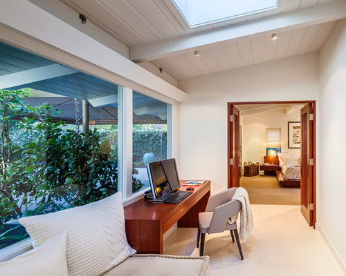 Inspiration For A 1960s Freestanding Desk Home Office Remodel In Santa  Barbara With White Walls