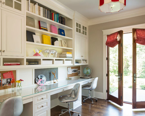 Example Of A Classic Home Office Design In Minneapolis With Gray Walls