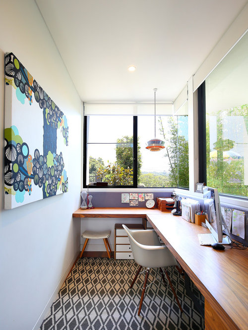 Design Ideas For A Contemporary Study Room In Sydney With White Walls,  Carpet And A