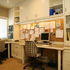 Transitional Home Office by MK Design Group Inc.