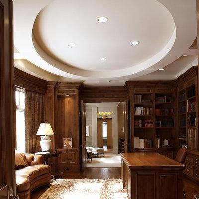 Example of a classic freestanding desk dark wood floor home office design in Minneapolis