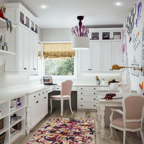 craft room design ideas, renovations & photos with multi-coloured walls