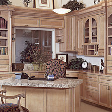 Mediterranean Home Office by Canyon Creek Cabinet Company