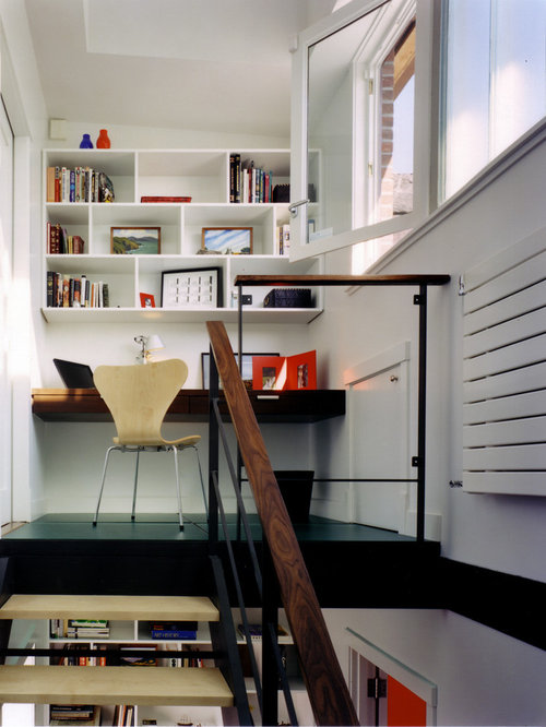 modern home office idea in new york with white walls - Modern Home Office