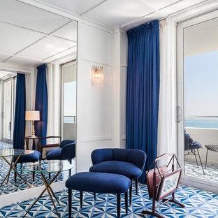Esempio di un grande ufficio minimalista con pareti bianche, pavimento con piastrelle in ceramica, nessun camino, scrivania autoportante e pavimento blu