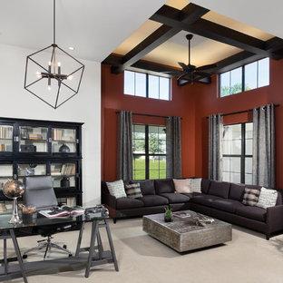 Ispirazione per un ampio ufficio classico con pareti bianche, moquette e scrivania autoportante