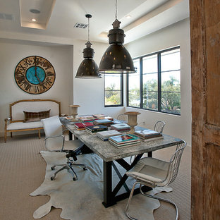 Inspiration for a contemporary freestanding desk carpeted home office remodel in Austin with white walls