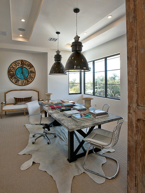 Transitional freestanding desk carpeted home office idea in Austin with white walls & Overhead Lighting Home Office Ideas u0026 Photos | Houzz azcodes.com