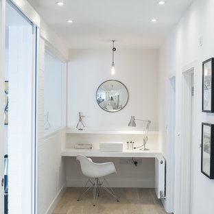 Aesthetic White Paint Sw7035 Clear All Inspiration For A Small Contemporary Built In Desk Light Wood Floor And Beige Study