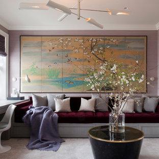 Свежая идея для дизайна: кабинет в стиле современная классика с фиолетовыми стенами, ковровым покрытием, встроенным рабочим столом и белым полом - отличное фото интерьера