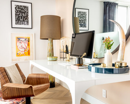 Inspiration For A Contemporary Freestanding Desk Light Wood Floor And Beige  Floor Home Office Remodel In