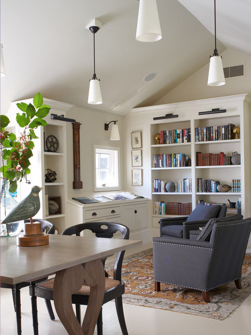 Example Of A Coastal Freestanding Desk White Floor Home Office Library  Design In Boston With Beige