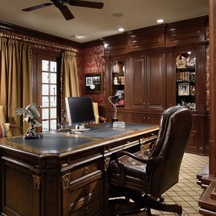 Inspiration for a mid-sized victorian freestanding desk carpeted and beige floor study room remodel in Charlotte with red walls