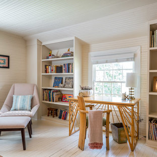 Inspiration for a country freestanding desk painted wood floor and white floor study room remodel in Raleigh with white walls