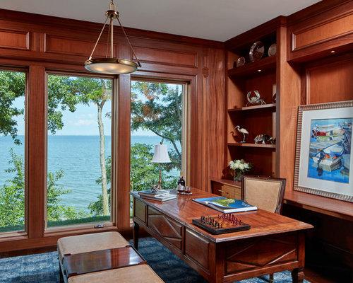 Beach Style Freestanding Desk Study Room Idea In Baltimore