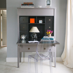 Transitional freestanding desk carpeted study room photo in Chicago with gray walls