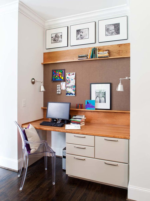 in Other with a built-in desk, gray walls and dark hardwood floors