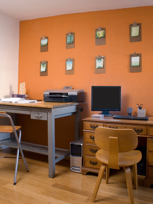 Home Office   Small Modern Freestanding Desk Light Wood Floor Home Office  Idea In Philadelphia With