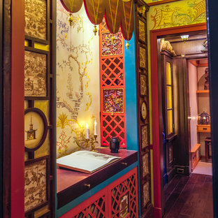 Example of an asian home office design in Chicago