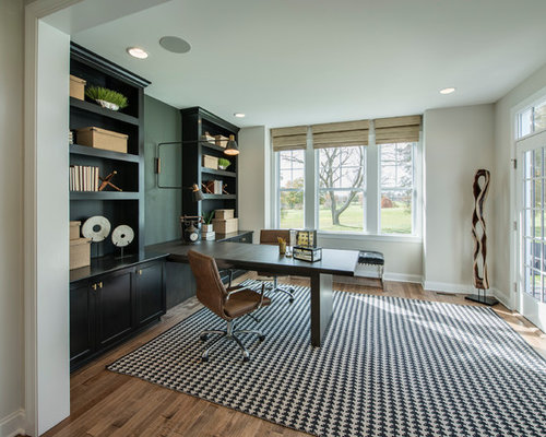 Inspiration For A Transitional Built In Desk Medium Tone Wood Floor And  Brown Floor Study