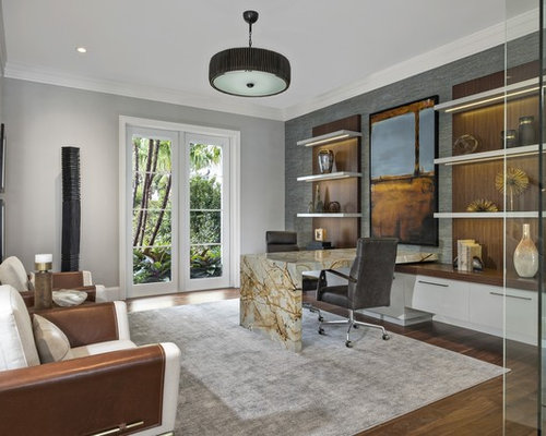 contemporary home office. Study Room - Huge Contemporary Built-in Desk Medium Tone Wood Floor And Brown Home Office