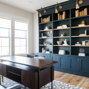 Inspiration for a coastal freestanding desk light wood floor home office library remodel in Salt Lake City with white walls and no fireplace