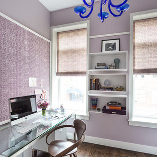 Inspiration for a contemporary study in New York with purple walls, medium hardwood flooring and a freestanding desk.