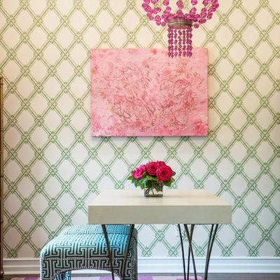Study room - transitional freestanding desk dark wood floor study room idea in Austin with multicolored walls