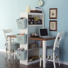 traditional home office Compact and Functional Double Desk Space