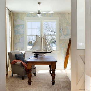 Example of a beach style freestanding desk home office design in Boston
