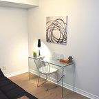 Grey And White Office Contemporary Home Office Toronto