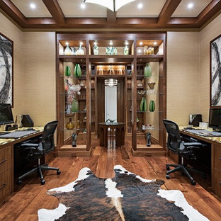 home office flooring ideas. Inspiration For A Contemporary Built-in Desk Dark Wood Floor And Brown  Study Room Home Office Flooring Ideas