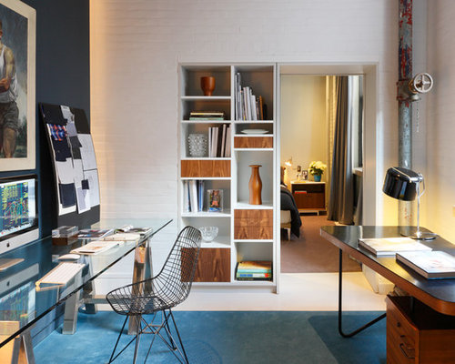 home office with two desks. contemporary freestanding desk home office idea in new york with white walls two desks h