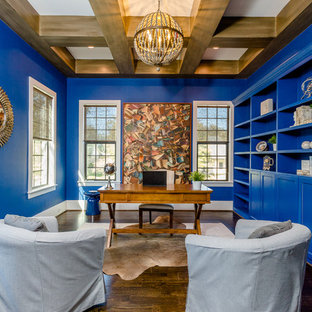 Inspiration for a contemporary freestanding desk dark wood floor study room remodel in Houston with blue walls