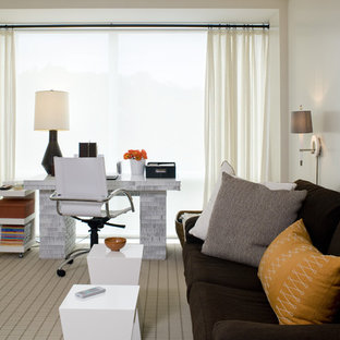 Inspiration for a mid-sized contemporary freestanding desk carpeted study room remodel in Boston with white walls and no fireplace