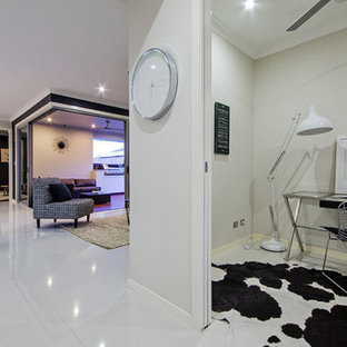 Design ideas for a contemporary home office in Brisbane.